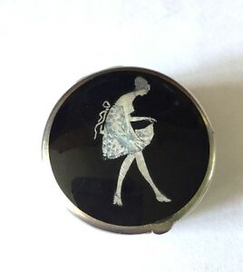 Antique Art Deco Sterling Enamel Box With Flapper
