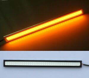2pcs Amber Yellow 17cm Cob 6w Led Strip Daytime Running Drl Light 12v Dc 420lm