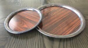 Set Of 2 Vtg Sheffield Silver Plated Round Formica Butler S Platter Tray Usa