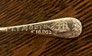 Vintage Durgin Sterling Silver Plymouth Mass Souvenir Spoon 4 1 8 With Mono