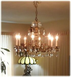 Vintage Brass Bronze Double Pineapple Chandelier With Prisms