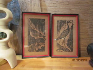 Vintage Pair Harris Strong Mid Century Modern Art Abstract Woodblock Roslyn