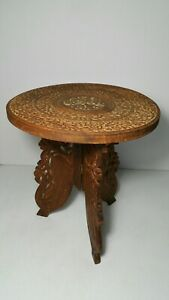 Vintage Hand Carved Wood Stool Plant Stand Accent Table Folding Bone Inlay