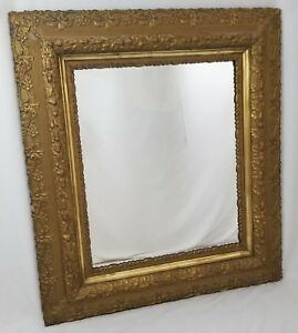 Antique Gilt Gesso Wood Wall Mirror Ornate Victorian Gold 1800 S Large 32x36