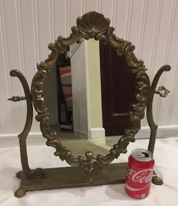 Antique 17 3 4 Vanity Table Top Mirror Victorian Scroll Cherubs Of Cast Brass