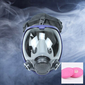 Survival Gas Mask Full Face Dust Mask Air Circulator Anti fog Safety Respiratory