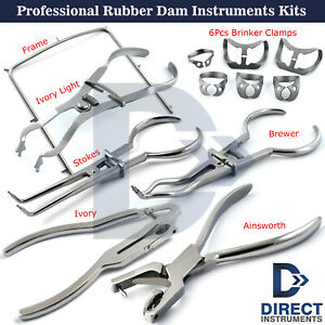 Professional Dentist Rubber Dam Sets Clamps Forceps Frame Dental Instruments Kit