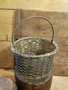 Vintage Woven Metal Basket With Twisted Wire Base And Handle Later 1900 S