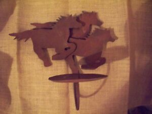 Southwest Decor Candle Holder Wall Sconce Rusty Tin Horses