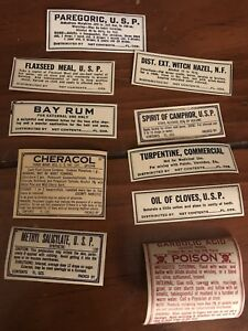 1920 Antique Vintage Old Rx Pharmacy Apothecary Gum Labels 10 Unused Bottle Id