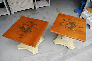 Pair Vintage Hitchcock Maple Square Low Lamp End Tables Floral Painted Wood