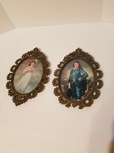 Vintage Set 2 Ornate Metal Flowers Boy Girl Picture Frames 4 3 4 X 7