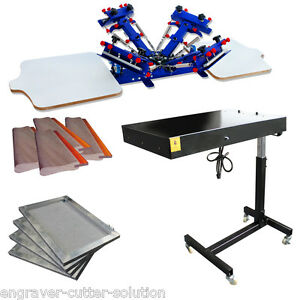 4 Color 2 Station Screen Printing Press Flash Dryer Aluminum Frame Squeegee Set