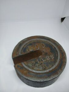 Vintage Antique Cast Iron Hanging Stackable Round Scale Weight 2 1 2 Lb