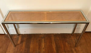 Vintage Dia Chrome Caining Glass Console Sofa Table Milo Baughman Mcm Modern 52