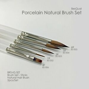 Besqual Natural K Brushes 5 Pcs Set With Cap For Dental Lab Porcelain Ceramist