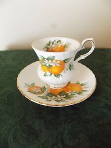 Vintage Elizabethan Fine Bone China England Tea Cup And Saucer Florida Oranges