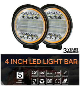 2x 4 300w Cree Led Round Work Lights Spot Driving Head Lights Drl Offroad Truck