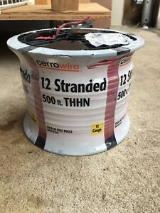 Cerrowire Spool 12 Guage Stranded Copper Thhn Wire Red 500 Feet New