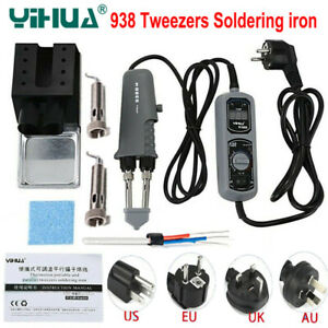 Yihua 938d 110 220v Eu Us Plug Portable Hot Tweezers Mini Soldering Iron Station