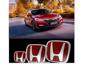 3pcs Jdm Type r Red H Emblem Front Rear Fit For 2016 17 Honda Accord 4dr Sedan