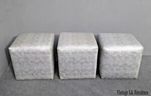 Three Vintage Contemporary Silver Snake Pattern Leather Square Ottomans