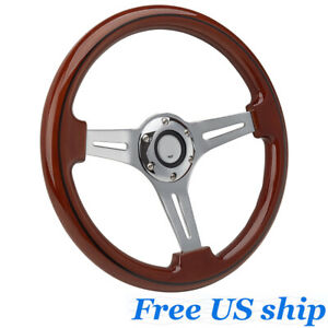 14 Inch Alloy Wood Grain Trim Classic Wooden Chrome Spoke Steering Wheel Wooden