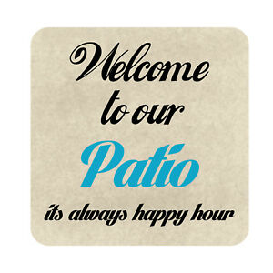 Welcome To Our Patio Sign Metal Outdoor Garden Decor Beach Pool Party Plaque