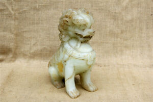 9 Antique Rare China Old Handcarved White Jade Foo Dog Lion Statue
