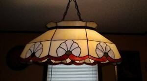 Vintage Stain Lead Glass Stained Hanging Ceiling Pendant Light Set