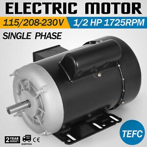 1 2 Hp Electric Motor 60hz 1750 1 Phase 115 230 Totally Enclosed Fan Cooled