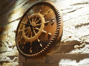 Mistral Ship Wheel Nautic Clock Wooden Intarsia Made From 2 Sorts Of Wood