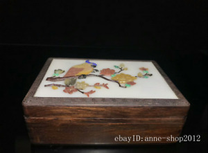 20cm Collect China Natural Old Redwood Wood Handmade Flower Bird Box Abcc
