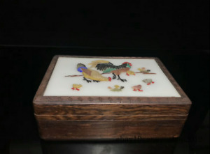 20cm Collect China Natural Old Redwood Wood Handmade Chicken Box Abcc