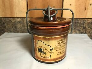 Vintage Stoneware Cheese Crock Old Generation Foods Of Wisconsin