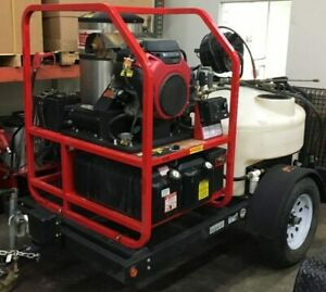 Used Hotsy 1270ssg Gas diesel 4 5gpm 4000psi Hot Water Pressure Washer Trailer