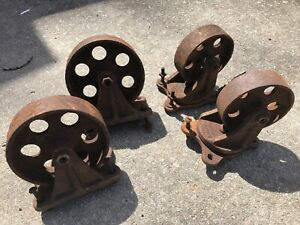 4 Antique Industrial Casters Cast Iron Steel 5 6 Wheels Cart Coffee Table