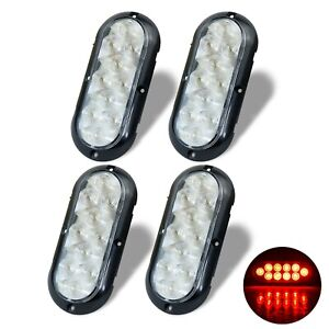 4 Trailer Truck Red Led Surface Mount 6 Oval Stop Turn Tail Light Sealed