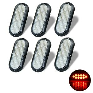 6 6 Oval Clear Red 10 Led W Flange Mount Stop Turn Tail Brake Light Utility