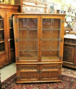 English Oak Leaded Glass Bookcase Display Cabinet Living Room Furniture