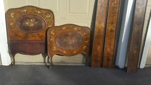 Made In Vienna Hand Painted Tole Twin Beds 2 Early 1900s