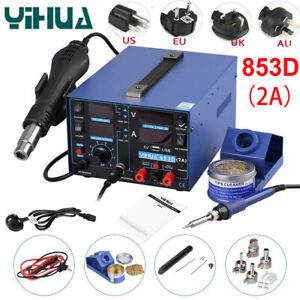 Yihua 853d 110v Soldering Station 3 In 1 Smd Soldering Iron Air Gun Welding Tool