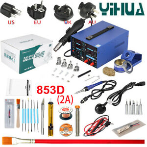 3in1 Yihua 853d 220v Soldering Rework Station Hot Air Gun 11pcs Parts Tool Kit
