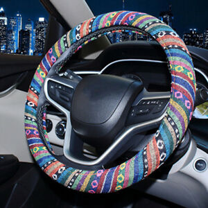 Colorful Car Steering Wheel Cover Anti Slip Flax National Style For Women Girls