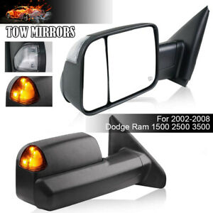 2p For 02 08 Dodge Ram 1500 03 09 2500 3500 Tow Mirrors Power Heated Turn Signal