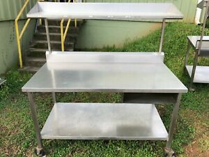 Commercial 60 X 30 Heavy Duty Stainless Steel Prep Food Work Table Overshelf