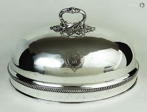 George Iv Old Sheffield Plate Crested Dish Dome Cover C1820 Somerville Family