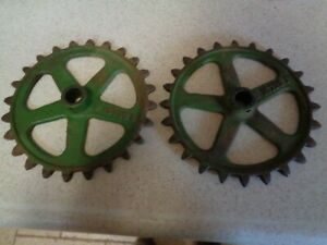 2 Cast Iron Industrial Gear Sprocket Lamp Base Steampunk Pulley Art John Deere