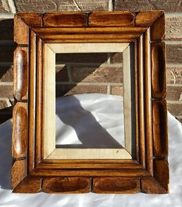 Vintage Mid Century Carved Wood Picture Frame Dark Honey Gold Stain Fits 6x8 Art