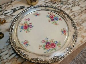 Vintage Wallace Sterling Silver And Lenox Porcelain Charger Plate Lenox Aurora